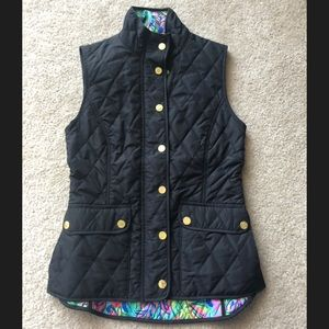 Lilly Pulitzer black quilted vest
